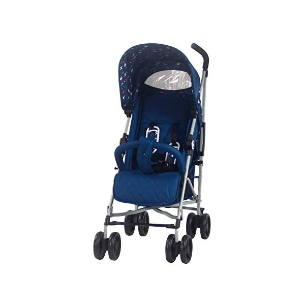 My Babiie MB02 Blue Flash Stroller My Babiie Suitable from birth to maximum 15kg, Great for parents on the go being lightweight but strong, Lockable swivel front wheels Front and rear wheel suspension, Compact fold, ideal for holidays too! Adjustable 2-position leg rest for extra comfort, Super soft handles, Extendable 3 position canopy 5