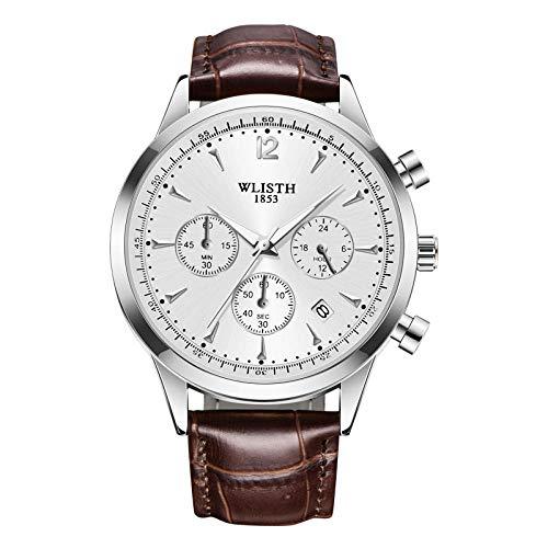 Relojes para Hombre Reloj de Cuarzo analógico Impermeable con cronógrafo para Hombre -A