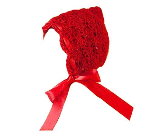 DELEY Nouveau-né Bébé Fille Crochet Bonnet Rouge Mignon Le Petit Chaperon Rouge des Costumes de Bébé Photographie Prop