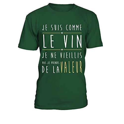 TEEZILY T-Shirt Homme Je suis comme Le vin Je ne vieillis Pas Je Prends de la Valeur - Vert Bouteille - S
