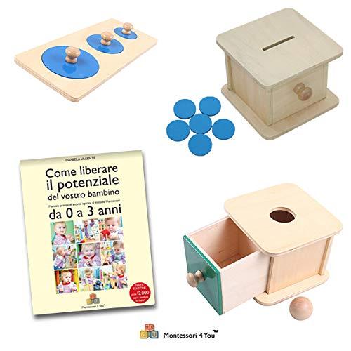 Maxi Set Prima Infanzia Montessori, Libro + Scatola Palla + Scatola Gettoni + Incastri dei Cerchi
