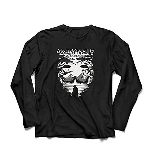 lepni.me Camiseta de Manga Larga para Hombre Hacktivist Mask - Citas de protesta por Anonymous (XXXX-Large Negro Multicolor)