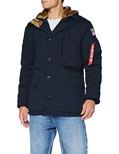 ALPHA INDUSTRIES Herren Polar Jacket Parka, Bleu Fonce, S