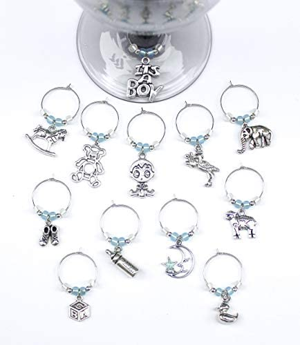 Baby Shower Favor Baby Boy Wine Charms Set of 12 BABYBOY001 12 product image