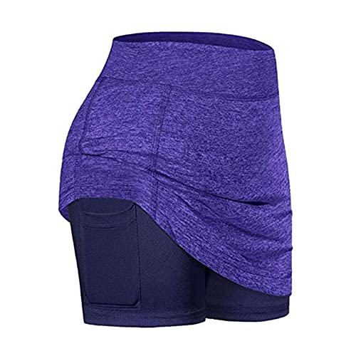 BXBX Falda de Dos Piezas Falsas de Dos Piezas para Mujer Talla Grande Faldas Lápiz Faldas Ligeras para Mujer Running Tenis Golf Entrenamiento Deportes Mini Falda 0430 (Color : Purple, Size : Medium)