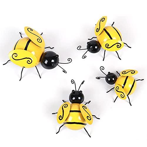 Garden Bumble Bee Decor, 4pcs Metal Bee Wall Decor Bee Wall Art Garden Wall Ornaments Outdoor, Wall Hanging Bumblebee, Vintage Wall Art Bee Metal For Outdoor Garden Lawn Fences Decor