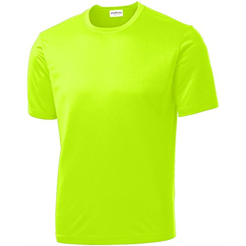 Clothe Co. Mens Short Sleeve Moisture Wicking Athletic T-Shirt, Neon Yellow, L