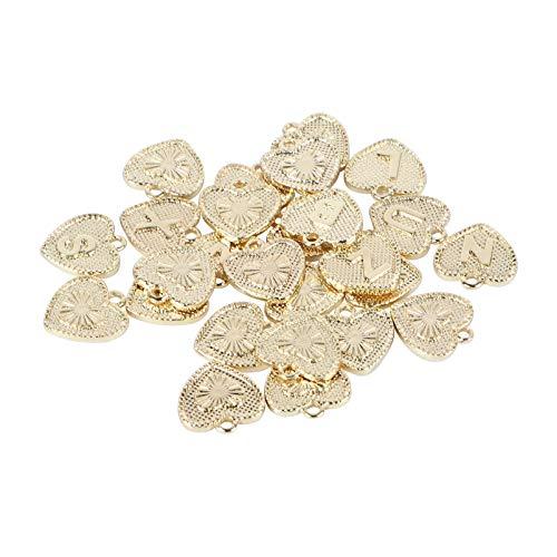 Scicalife 26 Piezas de Colgantes de Corazón Colgantes de Aleación Colgantes para Collar Pendientes de Pulsera Accesorios de Bricolaje (Dorados)
