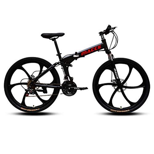 Bicicleta Plegable para Adultos,Bicicleta de Montaña,Velocidad Variable,Plegable,Bicicletas de Carretera,Portátil,Duradera,Bicicleta de Carretera,Bicicleta de Ciudad,Negro,26 inch 27 speed