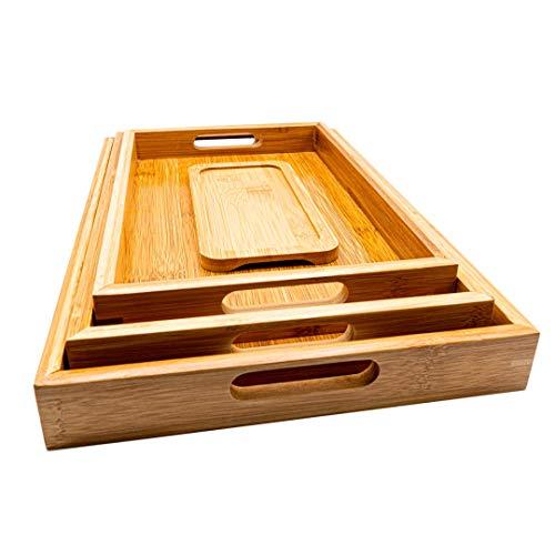 SET 3 Bandejas Madera Rectangular de Bambu para Servir Comida + 1...