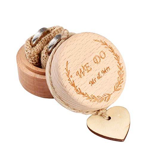 AerWo Caja para anillos de boda creativa, rústica, de madera, para anillos de compromiso, con etiquetas de corazón, regalos de boda para novia y novio