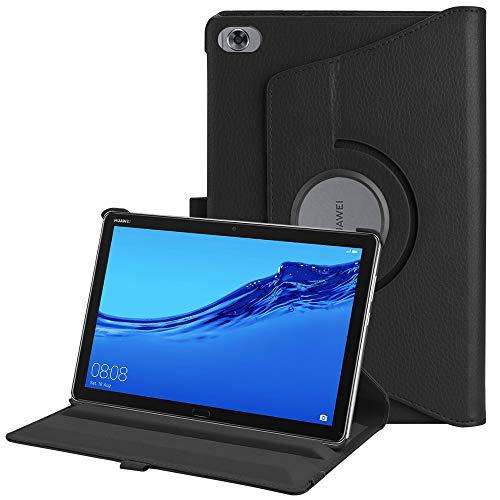 Fintie Funda Giratoria para Huawei MediaPad M5 Lite 10 - Rotación de 360 Grados Carcasa con Función de Soporte y Auto-Reposo/Activación para Huawei MediaPad M5 Lite 10,1 Pulgadas 2018, Negro