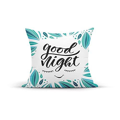 Funda de Almohada Decorativa Vintage, Mensaje de Buenas Noches bordeado con Gotas de Color Tic, Fundas de Almohada Fundas de cojín para Interior y Exterior para sofá en casa, 18 x 18 Pulgadas
