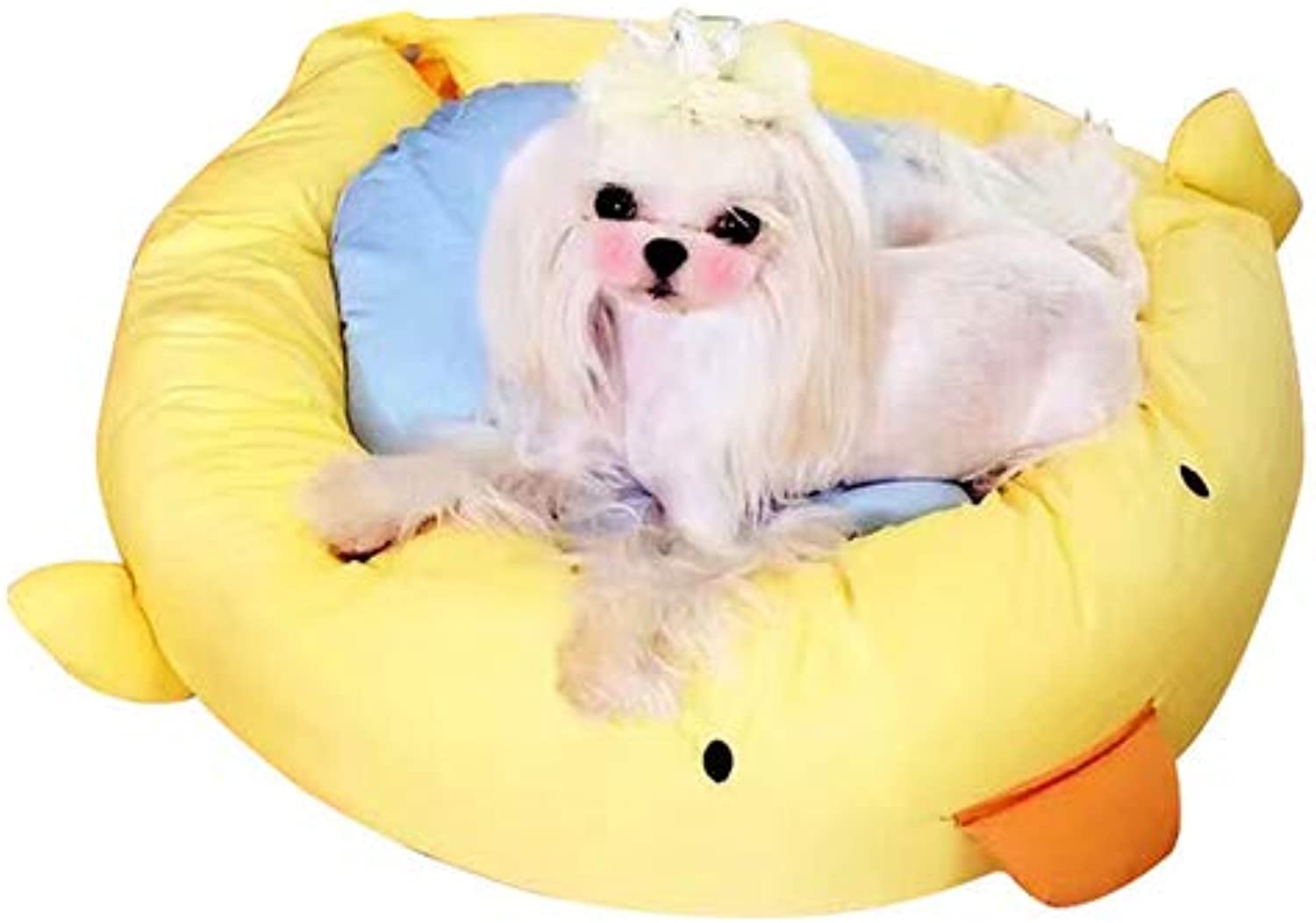 Cartoon Duck Patterned Round Dog Bed Soft Warm Short Plush Washable and Detachable Animal Shape Pet House Pad Suitable for Pets to Rest,S