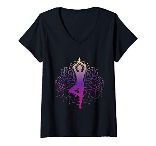 Damen Yoga Meditation Kleidung/ Zubehör/ Energetik / OM/ S-XXXL T-Shirt mit V-Ausschnitt