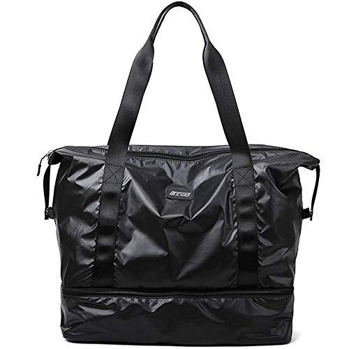 Namio スポーツバッグ ジムバッグ レディース ボストンバッグ 大容量 軽量 防水 靴入り 旅行 ゴルフ用バッグ 乾湿分離 男女兼用 (ブラック)