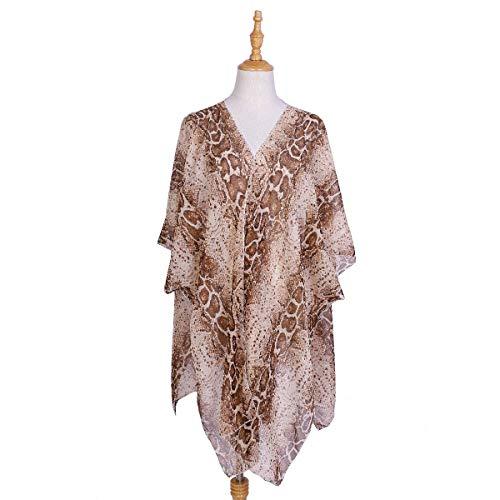 HMMJ Frauen Vertuschung-Mango-Druck Chiffon Sunscreen Shade Kimono Cardigans Beach-Reisen (Color : Khaki)