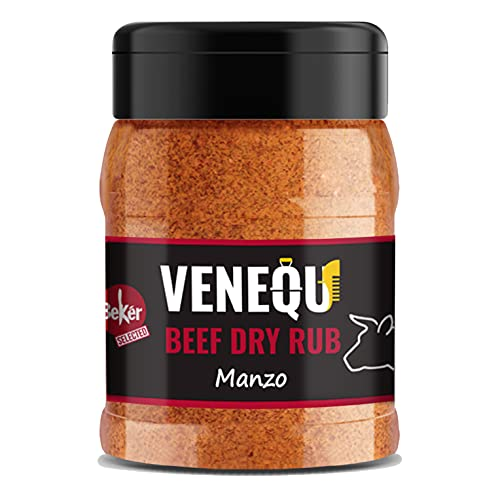 VENEQU BBQ BEEF DRY RUB 150 gr | BBQ DRY RUB MANZO 150gr | Mix di spezie per Barbecue ideale per Bistecche, Beef Ribs, Carolina Style Brisket , Hamburger | Ricetta originale Made in Italy