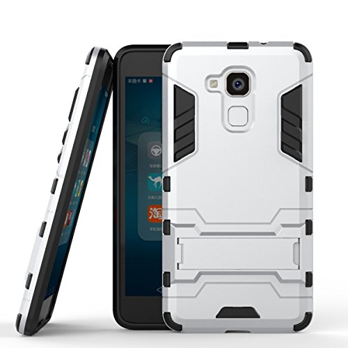 Huawei Honor 5C Hülle Case, Huawei Honor 5c Hülle, MHHQ Hybrid 2in1 TPU+PC Schutzhülle Rugged Armor Case Cover Dual Layer Bumper Backcover mit Ständer für Huawei Honor 5c -Silver