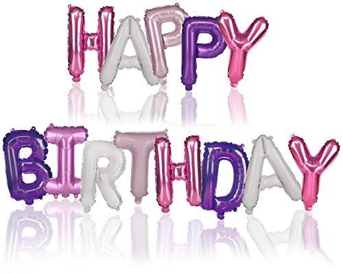 tib Globos XL Happy Birthday - Globos de Papel de Aluminio para Decoraciones de cumpleaños - Guirnalda de cumpleaños Colorida Hecha de Globos aerostáticos (01 Pieza - Rosa/Morado)