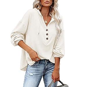 Women's Long Sleeve Sexy Deep V Neck Henley Shirts Drawstring Sweatshirt Hoodies Pullover Tops