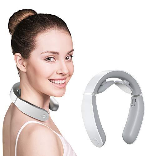 Masajeador cervical inteligente con calor, 3 modos, 12 niveles de intensidad, masajeador eléctrico para uso en el hogar o en el coche para aliviar el dolor