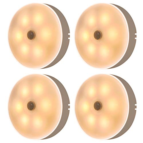 PANYUE Luz Nocturna LED de 4 Piezas Recargable por USB Sensor de Movimiento de Ahorro de Energía Luz Nocturna LED Blanca Cálida para Dormitorio Cocina Escaleras Armario Pasillo