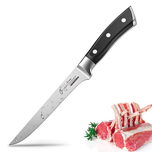 SKY LIGHT Ausbeinmesser Filetiermesser Fleischmesser Profi 14cm Kochmesser mit scharfer Klinge Küchenmesser Metzgermesser Ausbeiner Messer aus Deutsch Edelstahl