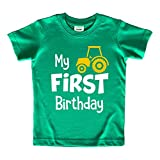 First Birthday boy Outfit My 1st Tractor Shirt Construction one Year Old Gifts (Green, 12 Months)