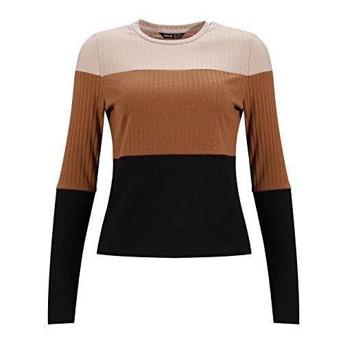Suéter de Punto para Mujer Camisas Casuales de Cuello Redondo para Mujer Blusas de Manga Larga Camisas Tops
