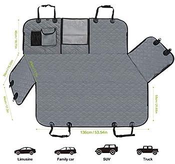 Pecute Housses de Siège d'auto pour Chien Universelle, Housse Protection de Siège d'arrière avec Poche de Rangement, Housse Banquette Imperméable pour Voiture et SUV Tansport Chien(146 x 136cm,Gris)
