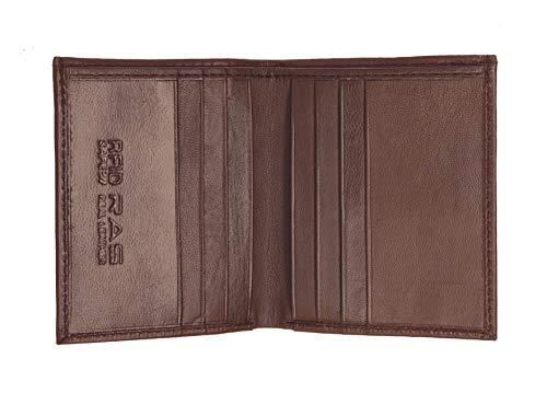 RAS RFID Blockiert Sichere Weiche Echtes Leder Kreditkarte & Banknote Tasche Schlanke Brieftasche Für Männer - Größe: 10.5cm x 8.5cm - 122 (Braun)