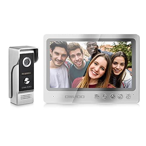 OWSOO Videoportero WiFi Inalambrico con 9' Pantalla Táctil TFT LCD a Color, Volumen/Brillo/Contraste Ajustables, Visión Nocturna, Impermeable, Desbloqueo, Conversación Visual, Melodías Opcionales