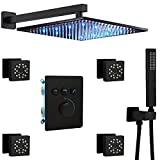 Homekicen Matte Black Shower System - 12 inch Square LED Rain Head with Handheld and Body Spray Multi Jets - High Pressure Thermostatic Valve Rainfall Faucet Fixture Combo Set for Bathroom