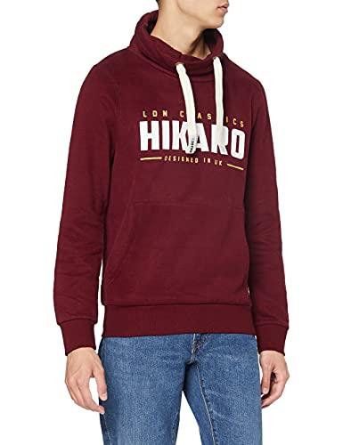 HIKARO Felpa con Collo Alto Uomo, Rosso (Burgundy), 48 (Taglia Produttore: Small)