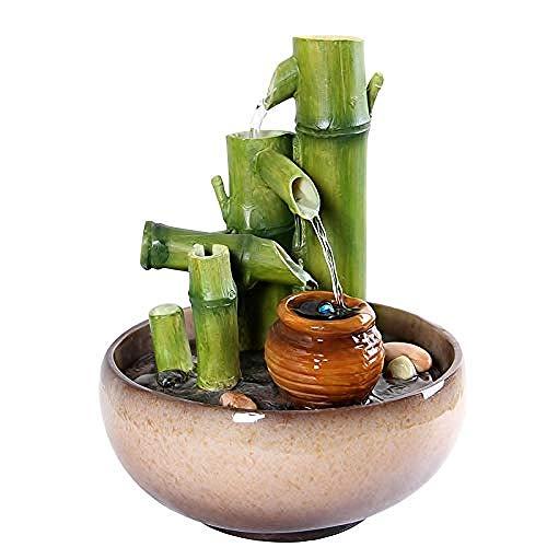 ZHIFENGLIU Handgemachte Harz Bambus Brunnen Brunnen Kung Fu Tee Set Dekoration Wasserlandschaft Reinigung Luft Geburtstag Geschenke Handwerk