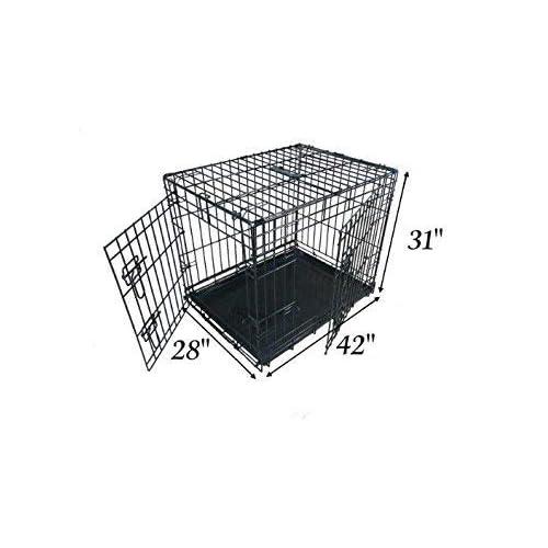 Ellie-Bo Jaula para perritos, jaula para perros con 2 puertas plegables, bandeja