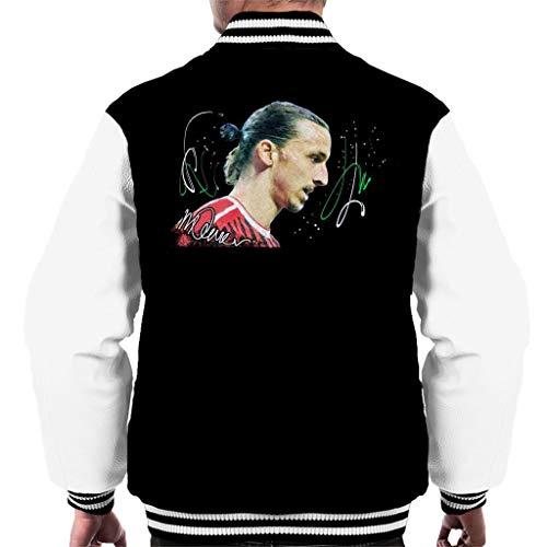 VINTRO Zlatan Ibrahimovic Herren Varsity Jacket Original Portrait by Sidney Maurer Professionell Bedruckt Gr. L, Jet Black Arctic White