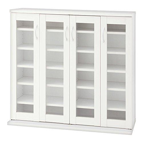 ぼん家具 ガラス扉 キャビネット スリム 大容量 本棚 とびら付き 漫画収納 4扉タイプ ホワイト