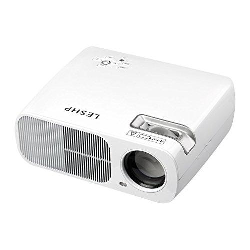 Leshp PL80 Mini-beamer,1300 lumen (max), draagbaar, TFT, LCD, LED, Full HD, 1080P, 130 inch, entertainment, thuisbioscoop, multimedia, conferentie, voor tablet-pc/smartphone etc., EU-stekker wit