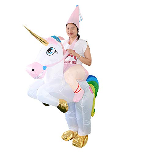 thematys Traje Inflable Unicornio - Divertido Disfraz de Aire con Sombrero para Adultos 165cm-185cm Carnaval, Despedida de Soltero o Halloween