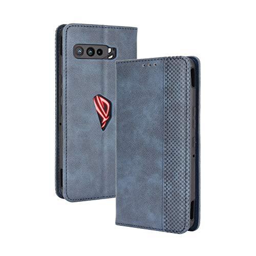 Dedux Flip Hülle kompatibel mit Asus ROG Phone 3 ZS661KS, Retro Leder Brieftasche Abdeckung Magnetverschluss Folio Ständer Kartensteckplätze Handyhülle, Blau