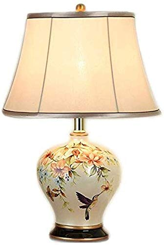 Zenghh Classic Vintage Style Ceramics Table Lamp, Oriental Vase-Like Cloth Lampshade Book Light Button Switch Desk Lamp Bedroom Porcelain Antique Flowers Decorated Bedside Lamp Light Bulb Reading Lamp