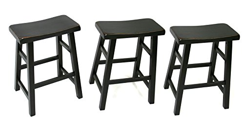 eHemco Heavy-Duty 24' Saddle Seat Barstools, Antique Black, Set of 3