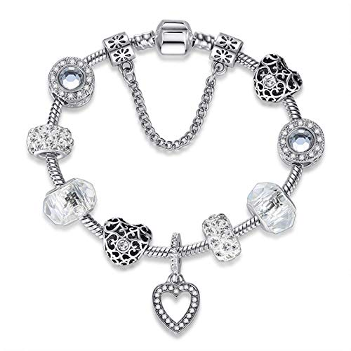 Gymqian Amor Pulsera Brazalete Ajustable Encantos Crystal Flower Beads con Cadena de Serpiente Plateada para Mujeres Regalo de la Niña Sencillez / 20cm