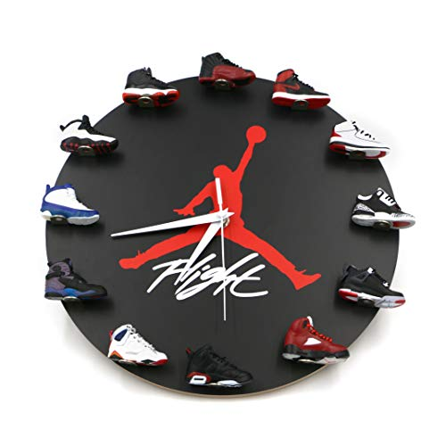 RelicsJP Air Jordan Wall Clock with 3D Mini Sneakers, Sneakerhead Style Decor Air Jordan 1 to 12 Clock, Gift for Hypebeasts