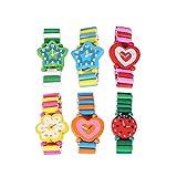 Toyvian - 6 Relojes de Pulsera de Madera para niños (Color al Azar)