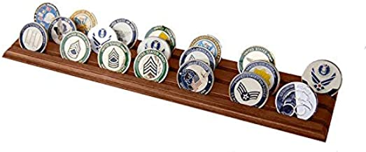 DECOMIL - Military Challenge Coin Holder Stand (Walnut) (Wood, 3 Rows)