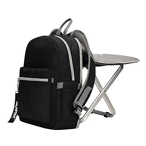 BigTron Ultralight Backpack Stool Combo - Compact Lightweight Backpack and Portable Folding Cooler Chair- Perfect for Camping Fishing Hiking Picnic Outdoor Watching Sports Events BBQ, Black