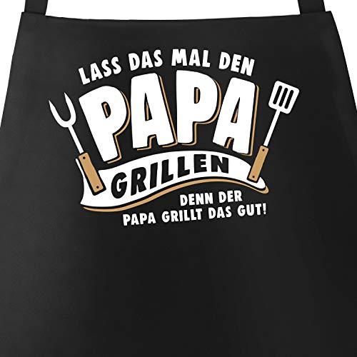 MoonWorks® Grill-Schürze für Männer mit Spruch Lass das mal den Papa Grillen, denn der Papa grillt das gut Geschenk Vatertag schwarz Unisize
